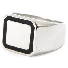 "Signet for silver for men ""Charles"" black silvery. Les Tresors de Lily. $125.00"
