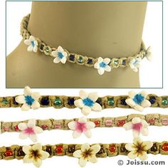 HEMP FLOWER BEAD CHOKERS. These necklaces are the perfect accessory for casual wear. Adjustable loop clasp. Assorted colors. Perfect for Mother's Day and Valentine's Day gifts. Also ideal for Christmas stocking stuffers and Easter basket treats.  Size 16 Inches