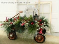 A Winter Touch: A little old wagon filled with Christmas cheer! Would love to have this sitting by my front door