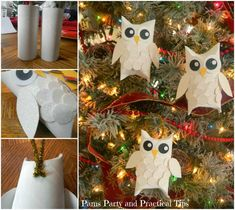 DIY Snowy Owl Ornaments from Paper Rolls -- nice kids crafts !  Check tutorial--> http://wonderfuldiy.com/wonderful-diy-snowy-owl-ornaments-from-paper-rolls/