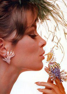 "Astrid Heeren is wearing Jean Schlumberger's ""Ribbon"" diamond earrings and ""Oiseau de Paradis"" clip of yellow beryls, rubies, diamonds, sapphires, emeralds and aquamarines, photo by Bert Stern, Vogue, Nov. 1963"
