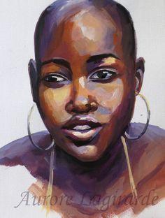 Portrait, Africaine. Peinture