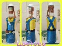 14 отметок «Нравится», 1 комментариев — Надюша Цветова (@tsvetovanadiusha) в Instagram: «Заказ ко дню строителя#дляЛидии#тзрволгоград ...» Water Bottle, Glass, Crafts, Diy, Home Decor, Recycled Crafts, Bottles, Decorate Bottles, Homemade Home Decor