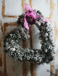 Pretty heart shaped pine cone wreath