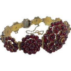 Garnet Eleven Flowers Hinged Bracelet from Antiques of River Oaks on Ruby Lane $1,800 - Questions Call: 713-961-3333