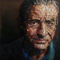 Omaggio a Robert De Niro per Mosaic Young Talent 2017,  Mosaico tecnica diretta,  materiali naturali