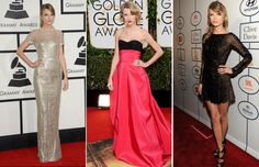 2014 was definitely Taylor Swift's year, and she got things off to a great start by striking a pose in a metallic Gucci dress at the Grammy's, a Carolina Herrera gown at the Golden Globe's and a Zuhair Marad cocktail dress at a Pre-Grammy Gala.