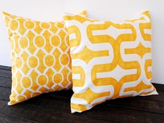 "Throw pillow covers pair 16"" x 16"" cushion covers mustard yellow pillow shams modern contemporary home decor. $32.00, via Etsy."