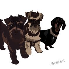 3 Musketeers - the cutest 3 dogs illustrated for a Christmas present Dog Christmas Presents, Personalised Prints, Musketeers, Pets, Illustration, Animals, Design, Christmas Presents For Dogs, Animales