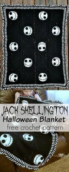 The Nightmare Before Christmas is such a classic holiday movie. We watch it over and over all season long! What better way to enjoy the season than wrapped up in a fun Jack Skellington blanket! Because its seasonal, I didnt make this blanket very large. Crochet For Beginners Blanket, Crochet Blanket Patterns, Crochet Stitches, Knitting Patterns, Knit Crochet, Crochet Blankets, Crochet Afghans, Crotchet, Crochet Granny