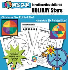 Lesson or center activity. Learn the about six and five pointed Stars and Hanukkah (Chanukah) Jewish and Christmas Christian Symbols . Bundle Includes Two thought provoking learning Activities: Unique Coloring Activities Learn What The Stars MeanDraw your own pointed stars What they learn:Perfect le...