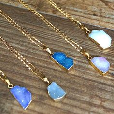 ⚡️SALE! Gold Pastel Druzy Stone Pendant Necklace Perfectly on trend for layering. Pendant is about 1 inch - size and shape of stone may vary due to use of natural stones. 18k gold plated means these babies will last forever! 🌟 Get them before they're gone! Pricing is for 1 necklace ☺️ Purchase your color by hitting BUY NOW and then selecting your stone color! Made with l❤️ ve in California by the wonderful ladies at Function & Fringe. Chosen as a Best in Jewelry HP on 6/4/16 ✨ Chosen as a…