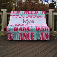 Personalized Fleece Dance Blanket Girls www.kennebug.com You Coupon code PINTEREST for 15% off your order!