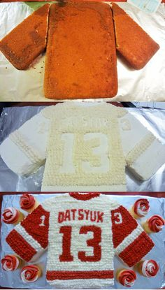 Meg's Cakes and Bakes! Jersey Cake, using 2 9x9 pans, (1/4 of a cake is wasted)... Detroit Red Wings!