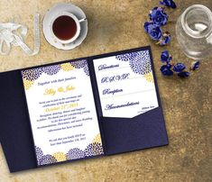 Blue and Gold Wedding Invitation Template by SasafrasPrintables