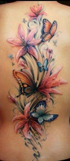 Flower tattoo designs to print - Tattoos - Tattoo Designs For Women Girly Tattoos, Mom Tattoos, Cute Tattoos, Body Art Tattoos, Sleeve Tattoos, Cloud Tattoos, Butterfly With Flowers Tattoo, Butterfly Tattoo Designs, Lilly Flower Tattoo