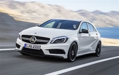 Mercedes A45 is powered by a 4 cylinder engine which as a displacement of 2000 cc. In spite of this, the car can churn out a power of 355 bhp due to turbo charging or forced induction. The car is super-fast with its ability to reach 100 kmph in a matter of 4.6 seconds only.