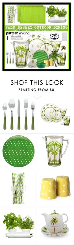 """""""Palm Desert Outdoor Dining - Dare to Mix Palm Trees & Polkadots!"""" by nonniekiss ❤ liked on Polyvore featuring interior, interiors, interior design, home, home decor, interior decorating, Kate Spade, Dot & Bo, Halcyon Days and Mimosa"""