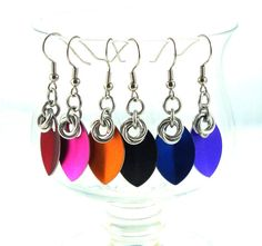Small Scale Maille Earrings Chainmaille and by thecuriouscupcake, $7.00
