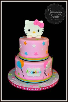 I like the colorful rings at the base of each tier Bolo Hello Kitty, Hello Kitty Birthday Cake, Birthday Cake Girls, Birthday Cakes, Pretty Cakes, Cute Cakes, Anniversaire Hello Kitty, Hello Kitty Themes, Fantasy Cake