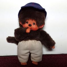 "SEKIGUCHI Monchhichi - monkey wearing blue cap and khaki pants - plush toy -  6"" #sekiguchi"