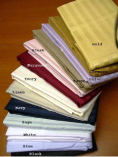 Standard Queen Stripe Pillow Cases 300 Thread Count