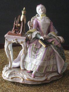 "Meissen Porcelain Figurine ""Woman at A Spinning Wheel"" | eBay"