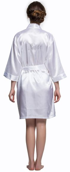 13f50734b1 White New style wedding robe. There are Bride Bridesmaid  Maid of Honor on  the back.