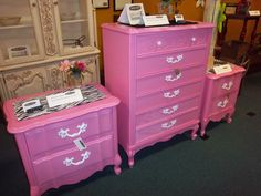 In booth 8 there are these bright pink dressers! Oh wow are they pink! But I'm sure someone would love this in the room, and the zebra print definitely pulls it off ;)