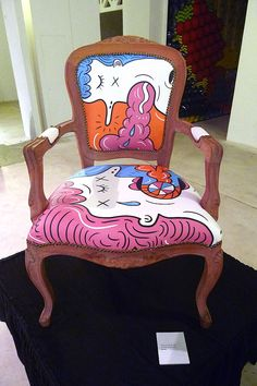 If You Only Knew What I was Feeling Right Now': Artwork by eeshaun on a Louis armchair for Chairity 2012: Art and Design against Cancer.