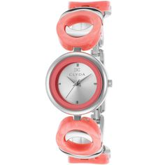 Clyda Women's Salmon Acetate And Ss Silver-Tone Dial Ss (365266201) ($35) ❤ liked on Polyvore featuring jewelry, watches, salmon, bezel watches, snap button jewelry, water resistant watches, silvertone jewelry and dial watches