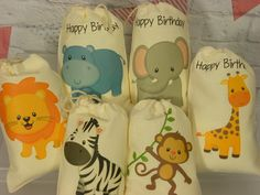 """Muslin Favor Bags Baby shower, birthday Baby Jungle Animals treat or gift personalized 5"""" X 7"""" Qty 6"""