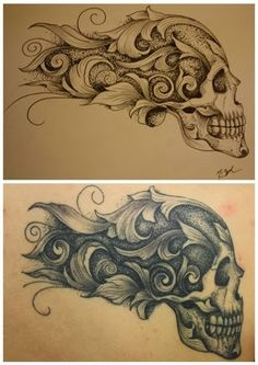 Resultado de imagen de how to draw filigree step by step Skull Tattoos, Love Tattoos, Tribal Tattoos, Tattoo Drawings, Cool Drawings, Filagree Tattoo, Cholo Tattoo, Skull Reference, Totenkopf Tattoos