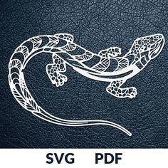 Two designs SVG / PDF cut file Paper Cutting Template gecko