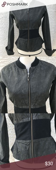 """🌹Oakley Women's Casual Sexy Jacket size M Peplum Oakley Women's Casual Jacket Sexy size M Zip Front Dark Gray. 53% Cotton 47% Nylon.   COLOR: Dark Gray   SIZE: M   CONDITION: Excellent condition with no signs of wear, holes, rips. From Smoke free home.  LAYING FLAT: Length- 21.5"""" Shoulder to Shoulder- 14.5"""" Armpit to Armpit- 18"""" Waist(across)- 14"""" Armhole Depth- 16""""     HOY S&C 3 Oakley Jackets & Coats"""