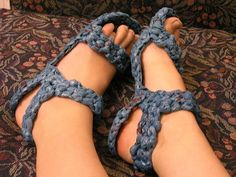 These sandals are made from plarn.                                                                                                                                                                                 More