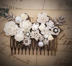 Wedding Hair Comb White Bridal Hair Accessories Romantic Headpiece Silver Leaves Rhinestone Crystal Pearl Modern Victorian Statement JW
