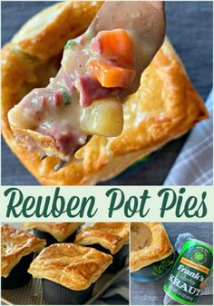 """Make Reuben Pot Pies! Rich beef gravy, lots of veggies, corned beef, kraut and Swiss cheese, baked with a """"crust"""" of puff pastry. Pastry Recipes, Pie Recipes, Casserole Recipes, Family Recipes, Dinner Recipes, Sauerkraut Recipes, Corned Beef Recipes, Strudel, Quiche"""