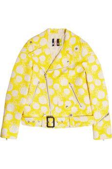 MSGM Cotton-blend jacquard biker jacket   NET-A-PORTER