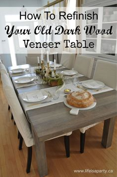 How To Refinish Your Old Dark Wood Veneer Table: How to strip your old table, and re-stain and seal it to make it better than new.