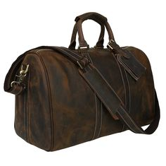 71e21f2a00d4 Polare Men s 18   Retro Real Leather Weekender Duffel Overnight Bag Carry  On Luggage