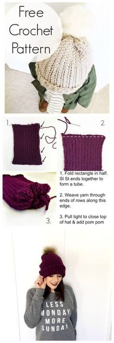 Hers's a free crochet pattern for a ribbed beanie. This is a basic crochet beanie pattern that is great for beginners. You can make the beanie slouchy or fitted. The crochet stitch pattern almost Basic Crochet Beanie Pattern, Crochet Stitches Patterns, Crochet Basics, Crochet For Beginners, Knitting Patterns, Hat Patterns, Sewing Patterns, Knitting Basics, Beginner Crochet