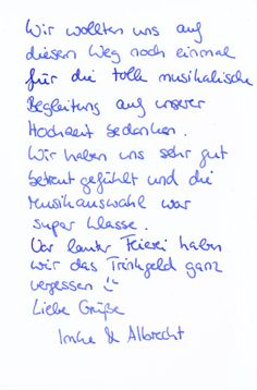 Dankeskarte von Imke & Albrecht an Matthias Math Equations, Best Music, Thanks Card, Newlyweds, Cards