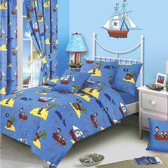 Treasure Island Junior Bedding http://www.childrens-rooms.co.uk/treasure-island-junior-bedding.html #piratetoddlerbedding #pirates #highseas