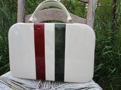 Vintage Cream Vinyl Patent Green Burgundy Stripe Retro Mod Box Purse Satchel by Holliezhobbiez on Etsy