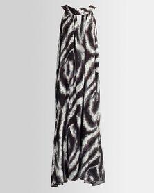 HASHTAG SELFIE Maxi Marble Print Dress Black White