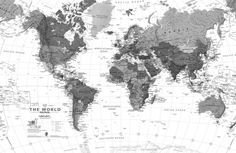 Black and white print with a world map interior pinterest black white detailed maps plain gumiabroncs Choice Image