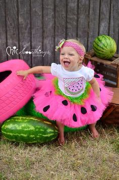 Watermelon Birthday Tutu, First Birthday baby tutu, watermelon tutu, hot pink lime green watermelon Green Watermelon, Watermelon Birthday, Watermelon Costume, My Baby Girl, Baby Love, Little Doll, Little Girls, Toddler Tutu, Toddler Headbands