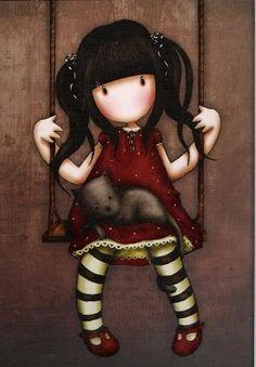 #Ilustración bonita Gorjuss Cards niña columpio y gato para #llienzo #póster o…