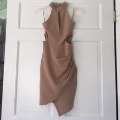 Beige Dress Purchased from Mura Boutique (Austrailian) size 6 in their sizing but fits like an xs here in US. NEVER WORN. NWOT!! Mura Boutique Dresses Mini